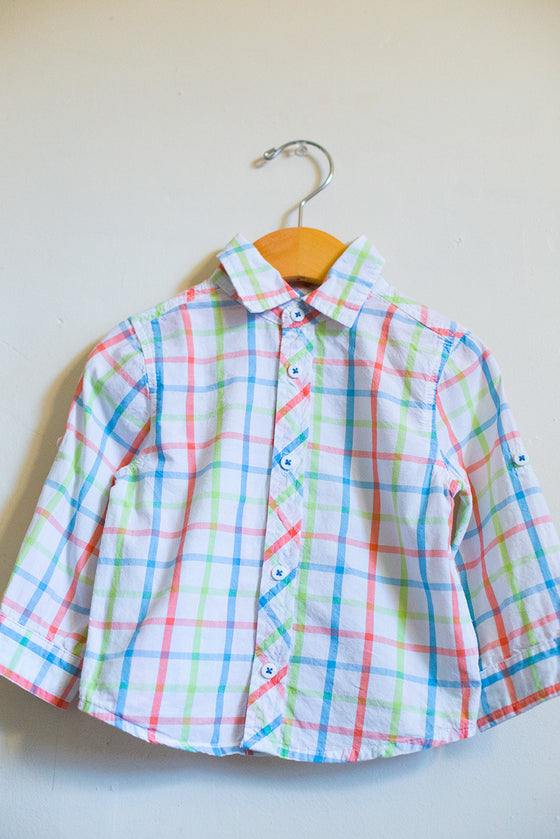 Pastel Plaid Button Down Shirt