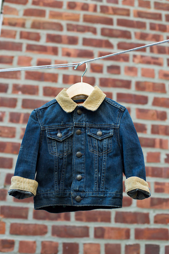 Denim Jacket with Corduroy Collar