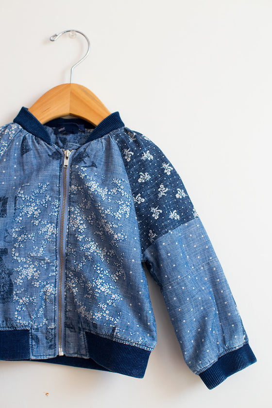 Floral Chambray Bomber Jacket