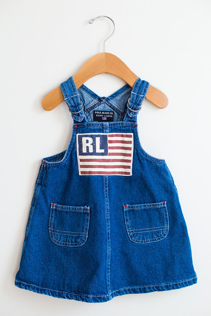 Vintage RL Flag Denim Jumper Dress