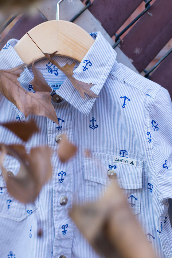 """Anchor"" Button Down Long Sleeve Shirt"