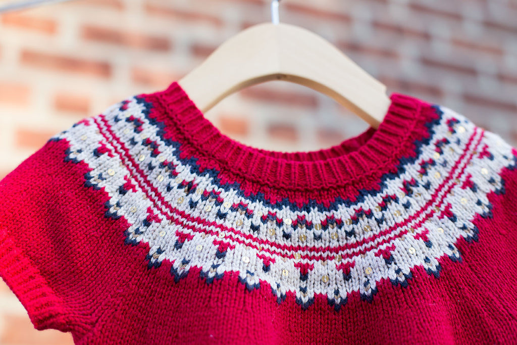 Cap Sleeve Sweater with Festive Neckline