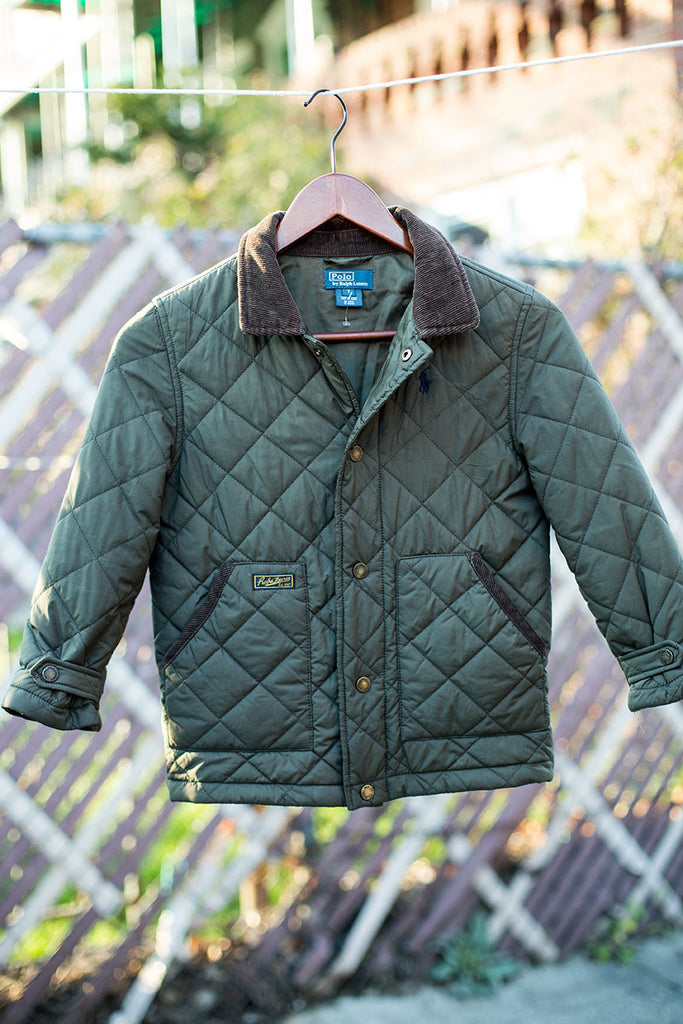 Quilted Jacket with Corduroy Collar