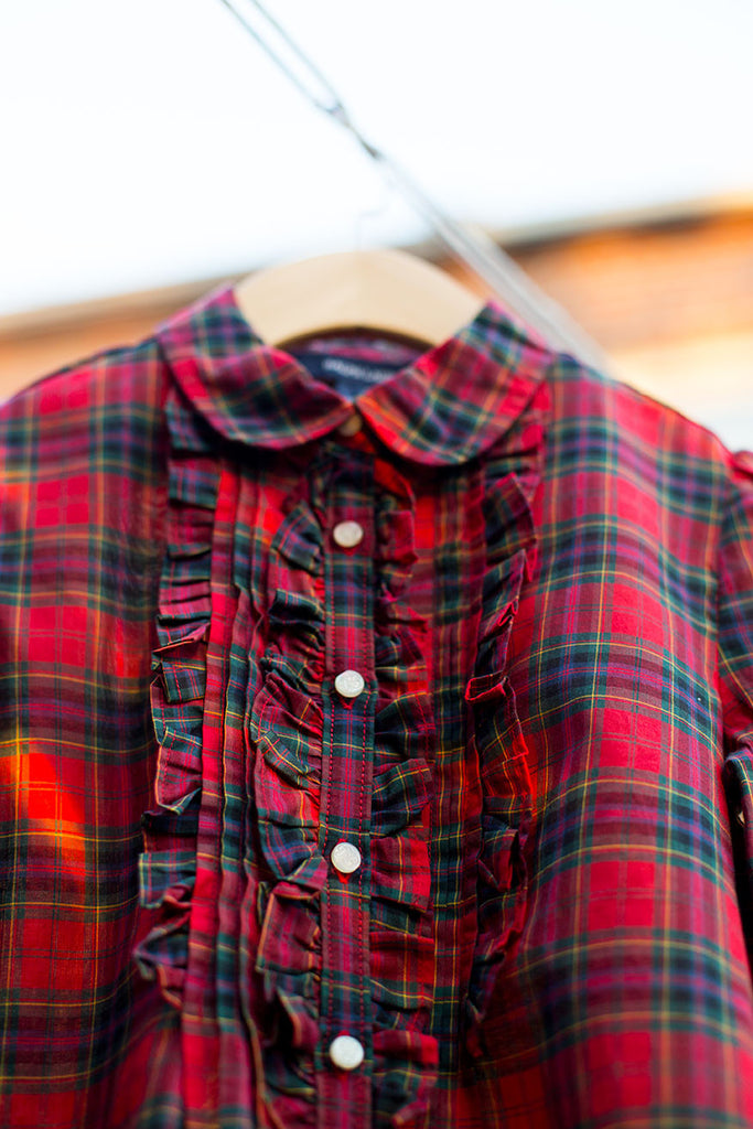 Plaid Ruffle Button Down Shirt