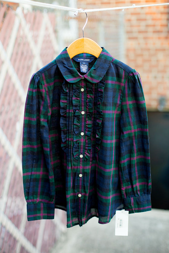 """BRAND NEW"" Plaid Ruffle Button Down Shirt"