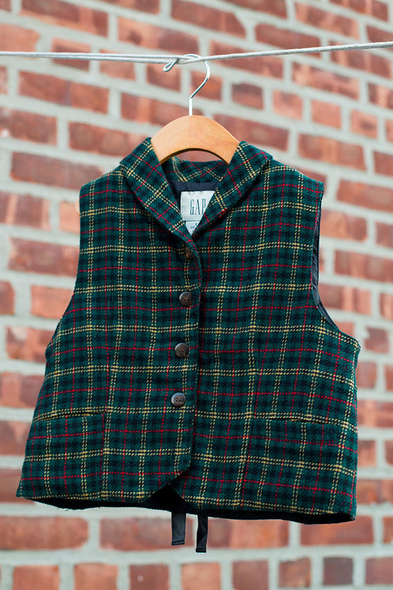 Young Kids Vintage Green Plaid Vest