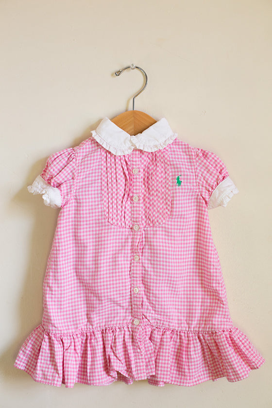 Gingham Dress with Pleated Hem