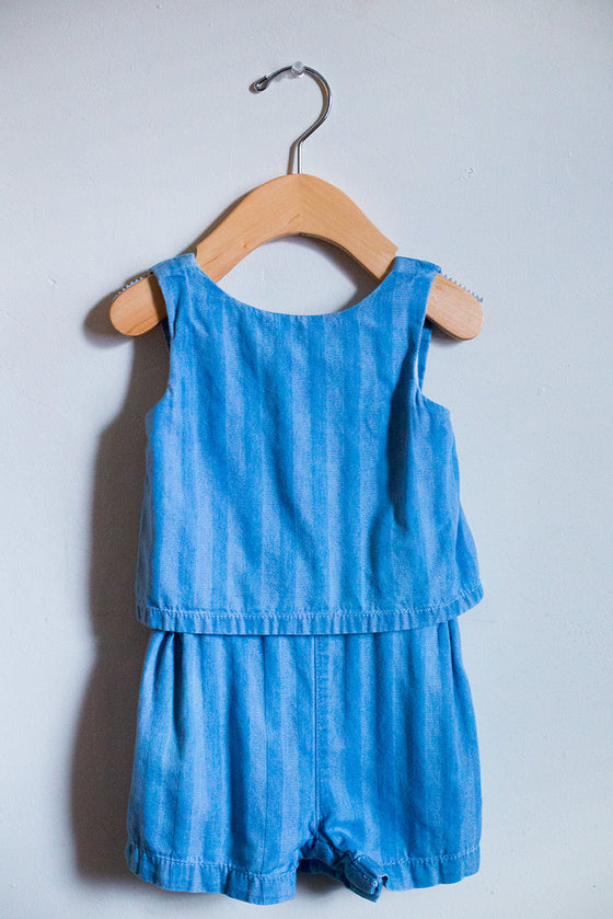 Chambray Striped Romper