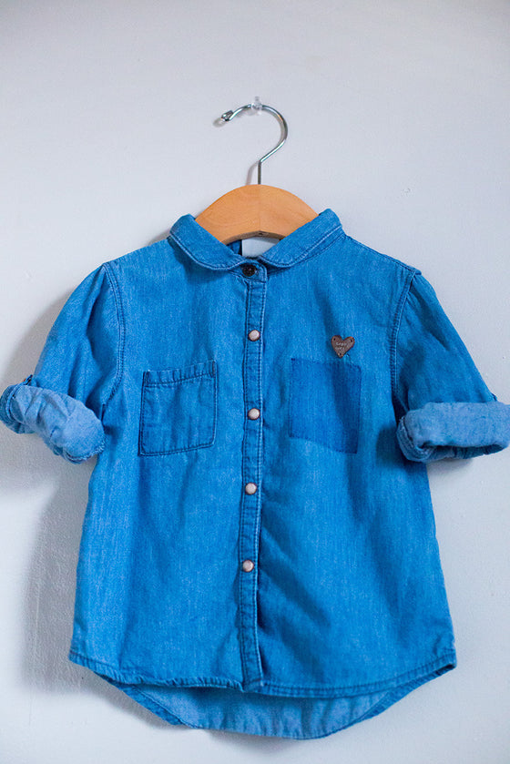 Chambray Heart Button Down Shirt