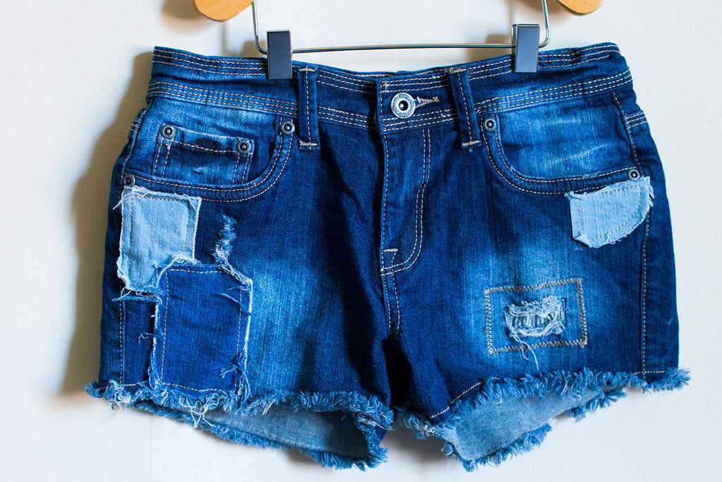 Distressed Patch Shorts