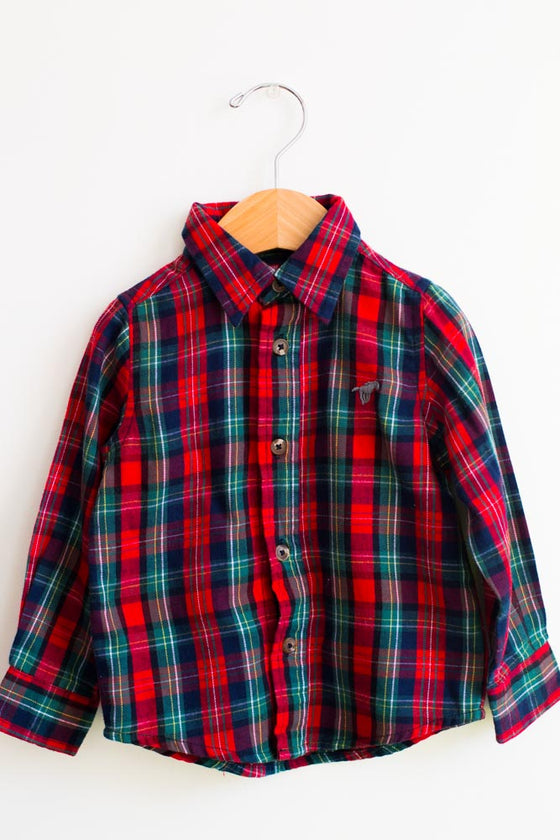 Basic Plaid Button Down Shirt