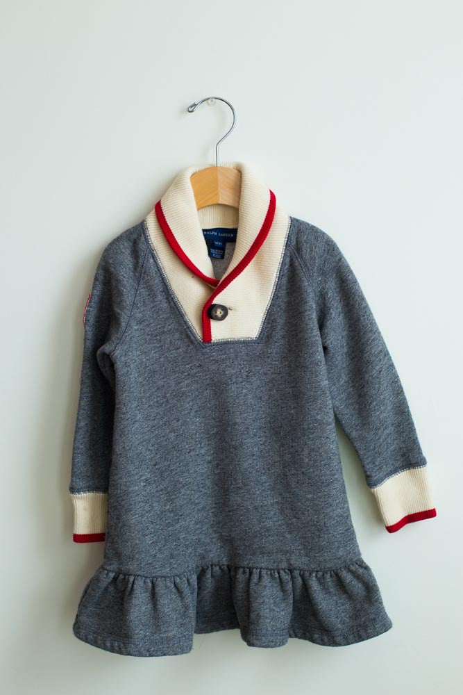 Preppy Shawl Collar Sweater Dress