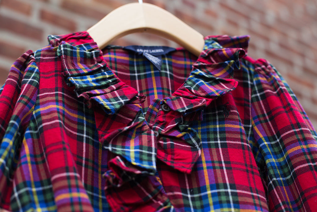 """BRAND NEW"" Ruffle Tartan Plaid Shirt"