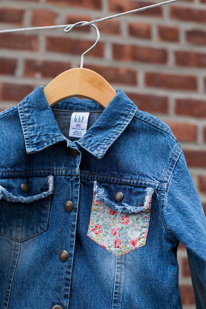 Vintage Floral Denim Jacket With Fringe Pockets