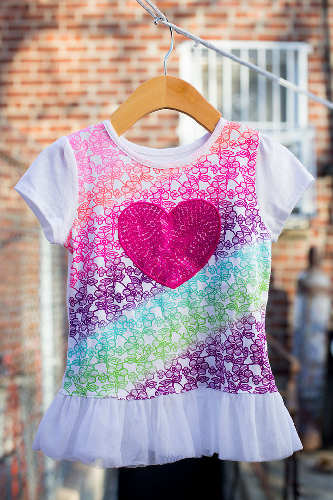 Floral Big Heart Sequin T-Shirt