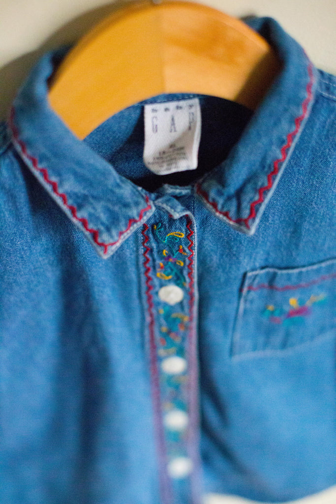 VINTAGE Button Down Floral Denim Shirt
