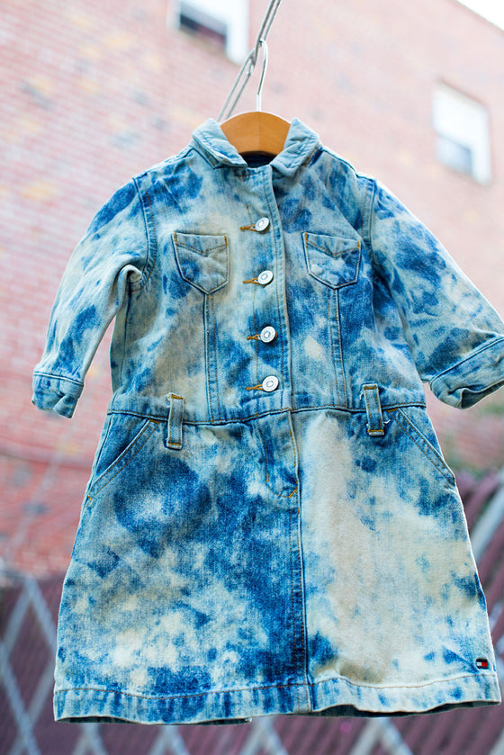 Custom Bleached Denim Dress
