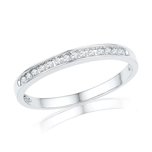 Diamond Wedding Band in 14k White Gold-SHRA013910BTW-14K