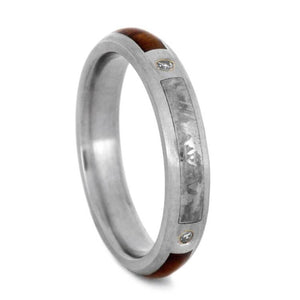 Womens Diamond Wedding Band With Snakewood And Meteorite-2988