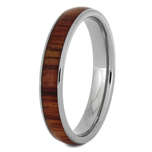 Titanium Ring with Tulipwood Inlay, Women's Wooden Wedding Band-1735