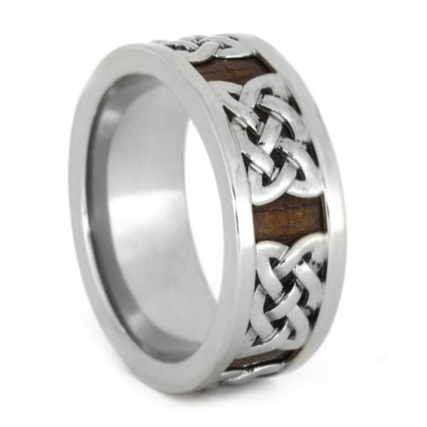 WHITE GOLD CELTIC KNOT RING WITH WOOD-3284