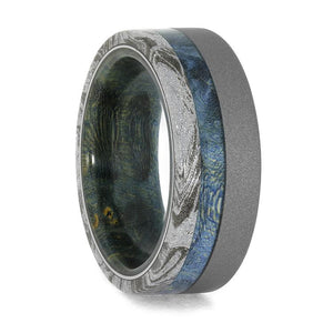 SANDBLASTED TITANIUM AND WHITE MOKUME RING WITH BLUE BOX ELDER BURL WOOD RING-4023 - Cairo Men's Wedding Rings