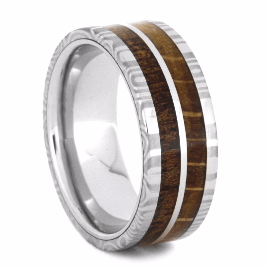 WHITE GOLD RING WITH DAMASCUS AND WOOD-2144 - Cairo Men's Wedding Rings