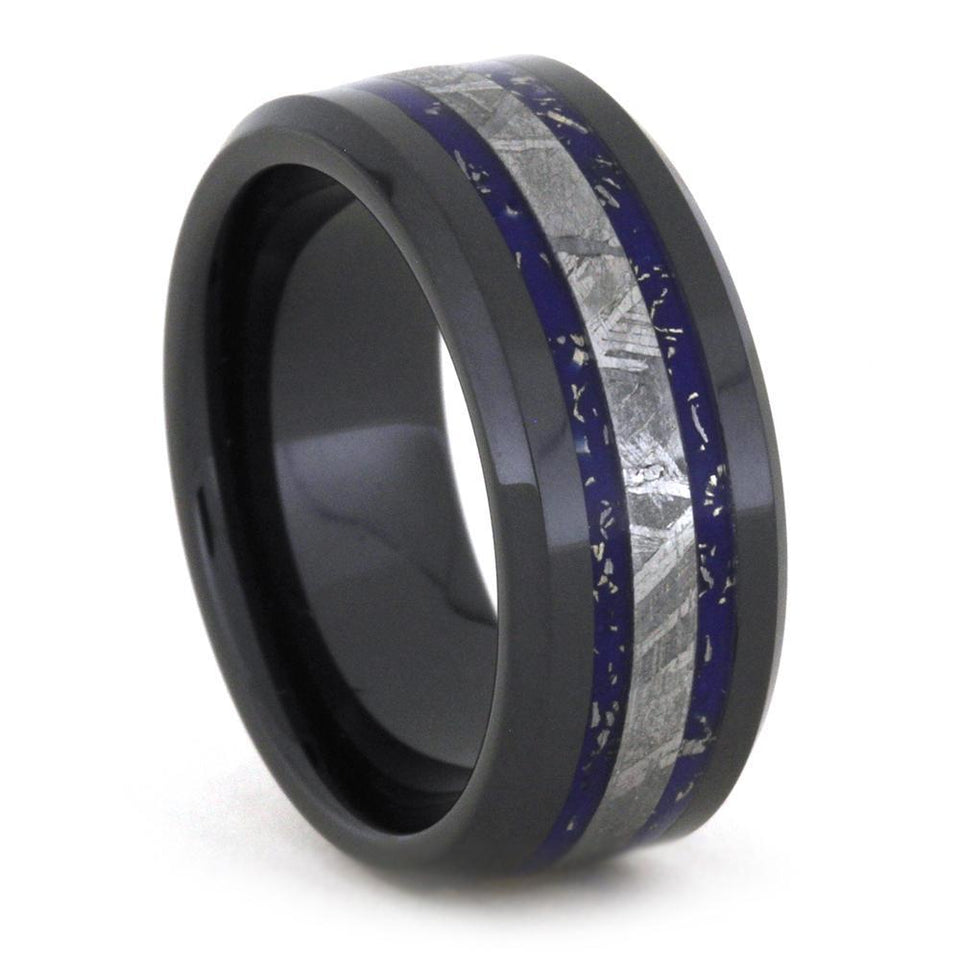 CERAMIC WEDDING BAND WITH METEORITE AND BEVELED BLUE STARDUST-3159 - Cairo Men's Wedding Rings