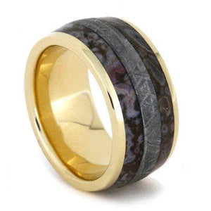 GOLD RING WITH DINOSAUR BONE AND METEORITE INLAYS-1933 - Cairo Men's Wedding Rings