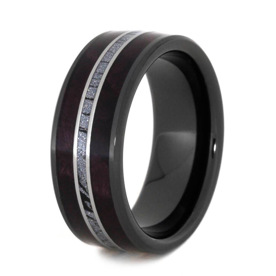 BLACK CERAMIC MOKUME WEDDING BAND WITH PURPLE BOX ELDER 2531 - Cairo Men's Wedding Rings