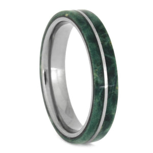Narrow Wood Wedding Band With Green Box Elder Burl, Titanium Ring-2662