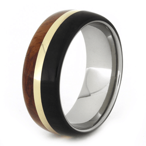 14K YELLOW GOLD AFRICAN BLACKWOOD AND AMBOYNA WOOD RING-1732 - Cairo Men's Wedding Rings
