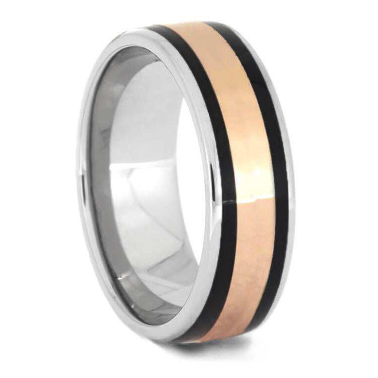 AFRICAN BLACKWOOD RING ON TITANIUM WITH ROSE GOLD-1168 - Cairo Men's Wedding Rings