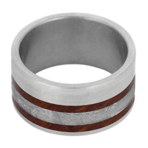 AMBOYNA BURL WEDDING BAND WITH TITANIUM GIBEON METEORITE-1014 - Cairo Men's Wedding Rings
