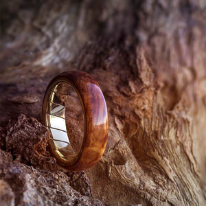 AMBOYNA WOOD WEDDING RING WITH YELLOW GOLD-2465 - Cairo Men's Wedding Rings