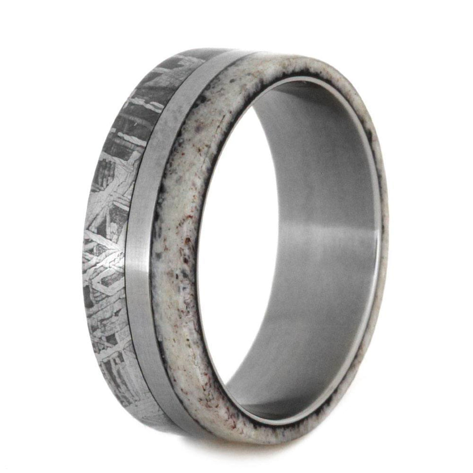 ANTLER AND METEORITE TITANIUM BURL WEDDING BAND-2792 - Cairo Men's Wedding Rings