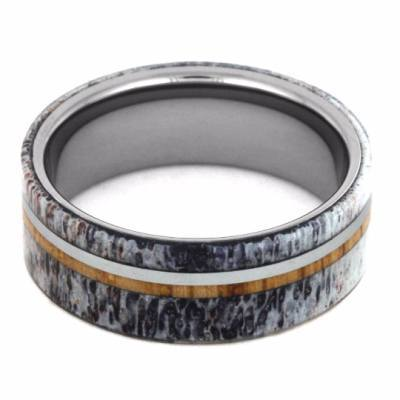 TUNGSTEN AND ANTLER OAK WOOD RING-2207 - Cairo Men's Wedding Rings