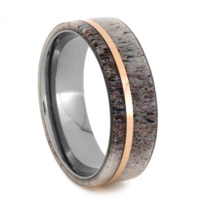 TITANIUM ANTLER RING WITH 14k ROSE GOLD-2026 - Cairo Men's Wedding Rings