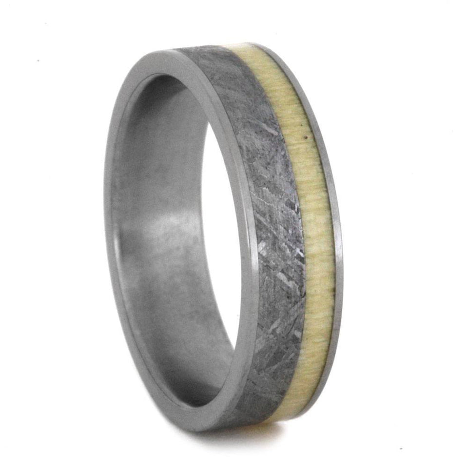 ASPEN WOOD TITANIUM RING WITH METEORITE-2417 - Cairo Men's Wedding Rings