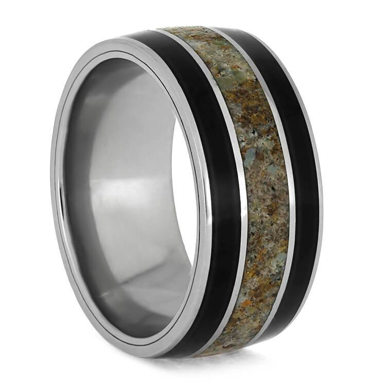 BLACKWOOD TITANIUM WEDDING BAND WITH DINOSAUR BONE-3734 - Cairo Men's Wedding Rings