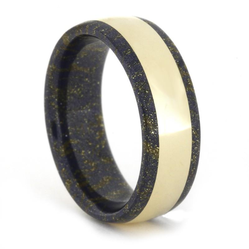 BLACK AND GOLD MOKUME GANE RING WITH 14k YELLOW GOLD-1662 - Cairo Men's Wedding Rings