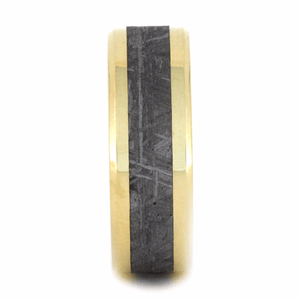 BLACK AND WHITE BEVELED MOKUME GANE RING WITH 14k YELLOW GOLD METEORITE-2135 - Cairo Men's Wedding Rings