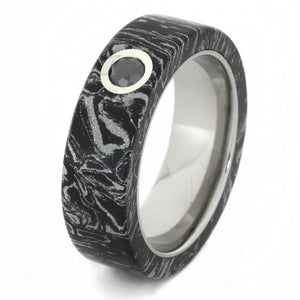 BLACK AND WHITE MOKUME RING WITH BLACK DIAMOND-1663 - Cairo Men's Wedding Rings