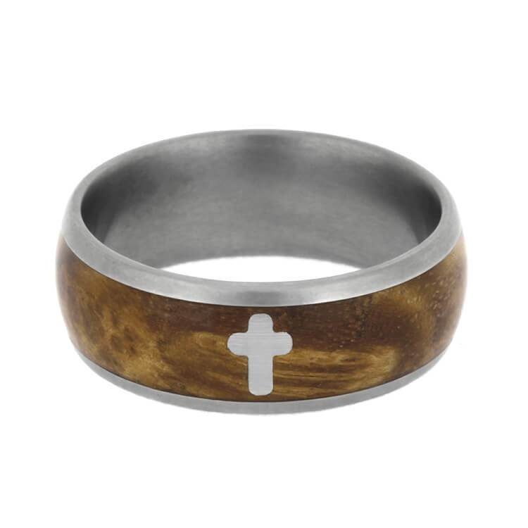 MATTE BLACK ASH BURL RING WITH SILVER CROSS-2480 - Cairo Men's Wedding Rings