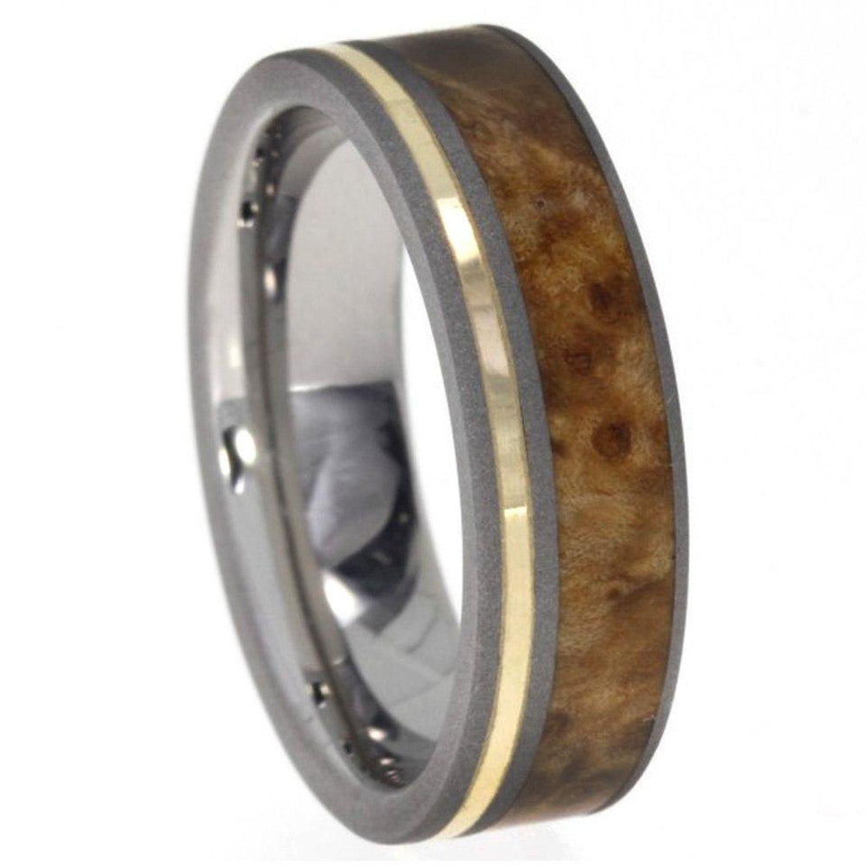 BLACK ASH BURL WOOD RING WITH TITANIUM AND YELLOW GOLD RING-1540 - Cairo Men's Wedding Rings