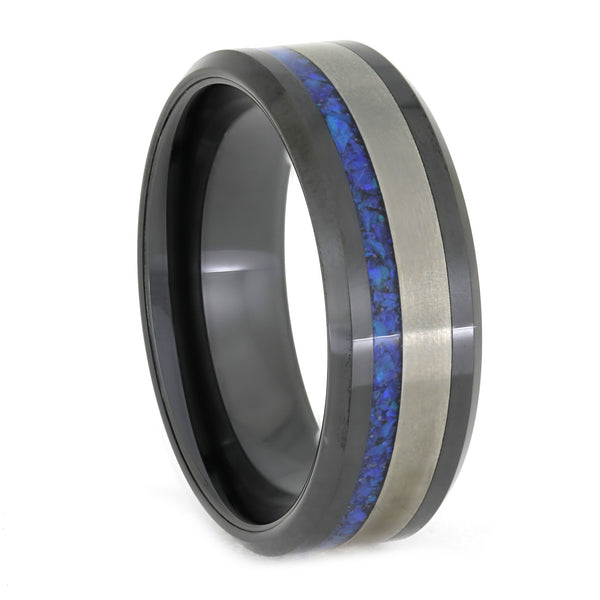 BLACK CERAMIC BEVELED AND SYNTHETIC OPAL WEDDING BAND-3856 - Cairo Men's Wedding Rings