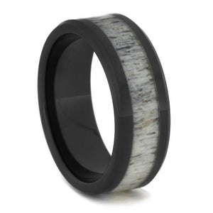 BLACK CERAMIC BEVELED RING WITH ANTLER-1756 - Cairo Men's Wedding Rings