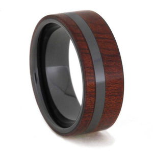 BLACK CERAMIC RING WITH BLOODWOOD-1623 - Cairo Men's Wedding Rings