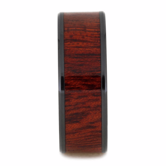 BLACK CERAMIC BEVELED RING WITH BLOODWOOD-2098 - Cairo Men's Wedding Rings