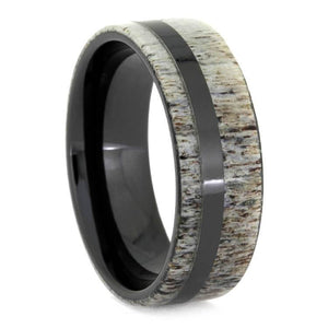 POLISHED BLACK CERAMIC RING WITH DEER ANTLER-2616 - Cairo Men's Wedding Rings